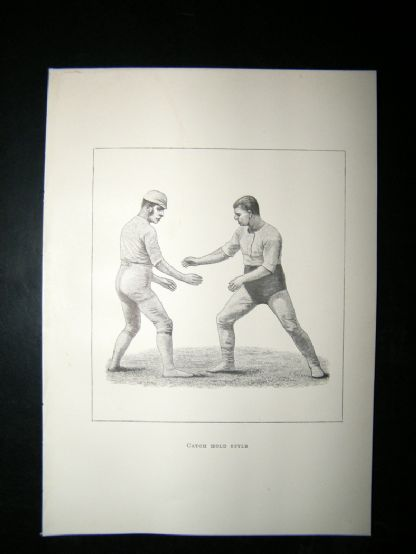 Wrestling 1893 Antique Print. Catch Hold Style | Albion Prints
